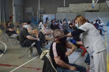 primera jornada de vacunació sense cita prèvia a la Bisbal d'Empordà el passat 26 de maig. Autoria: Anna Pascual